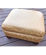Vintage 1974 Harvest Gold Embossed Vinyl Wood Rectangular Footstool Otto... - $22.95