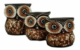 Balinese Wood Handicrafts Small Forest Owl Family Set of 3 Decorative Fi... - $19.99