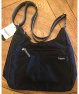 BAGGALLINI Fine Line Hobo Crossbody Shoulder Bag Black Nylon MLH241 NWT $85 - $42.57