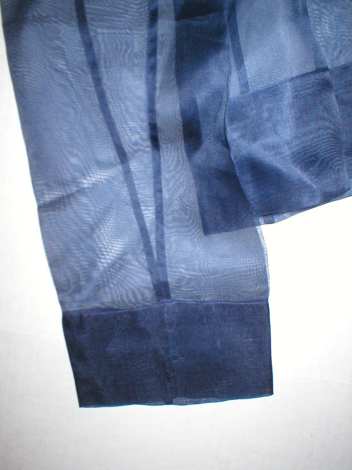 New NWT Womens 4 Blouse Top Designer Etro Silk LS Dark Blue Navy 40 Italy Sheer