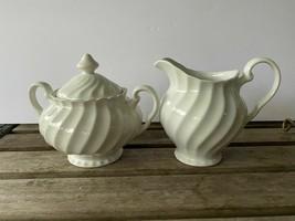 Johnson Brothers Regency Cream & Sugar White Swirl England Vintage Irons... - $23.71