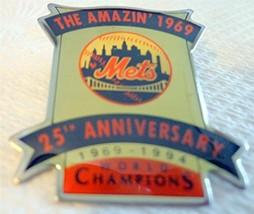 Amazing Mets 1969 World Champions 25th Anniversary Baseball Lapel Hat Pi... - $4.99