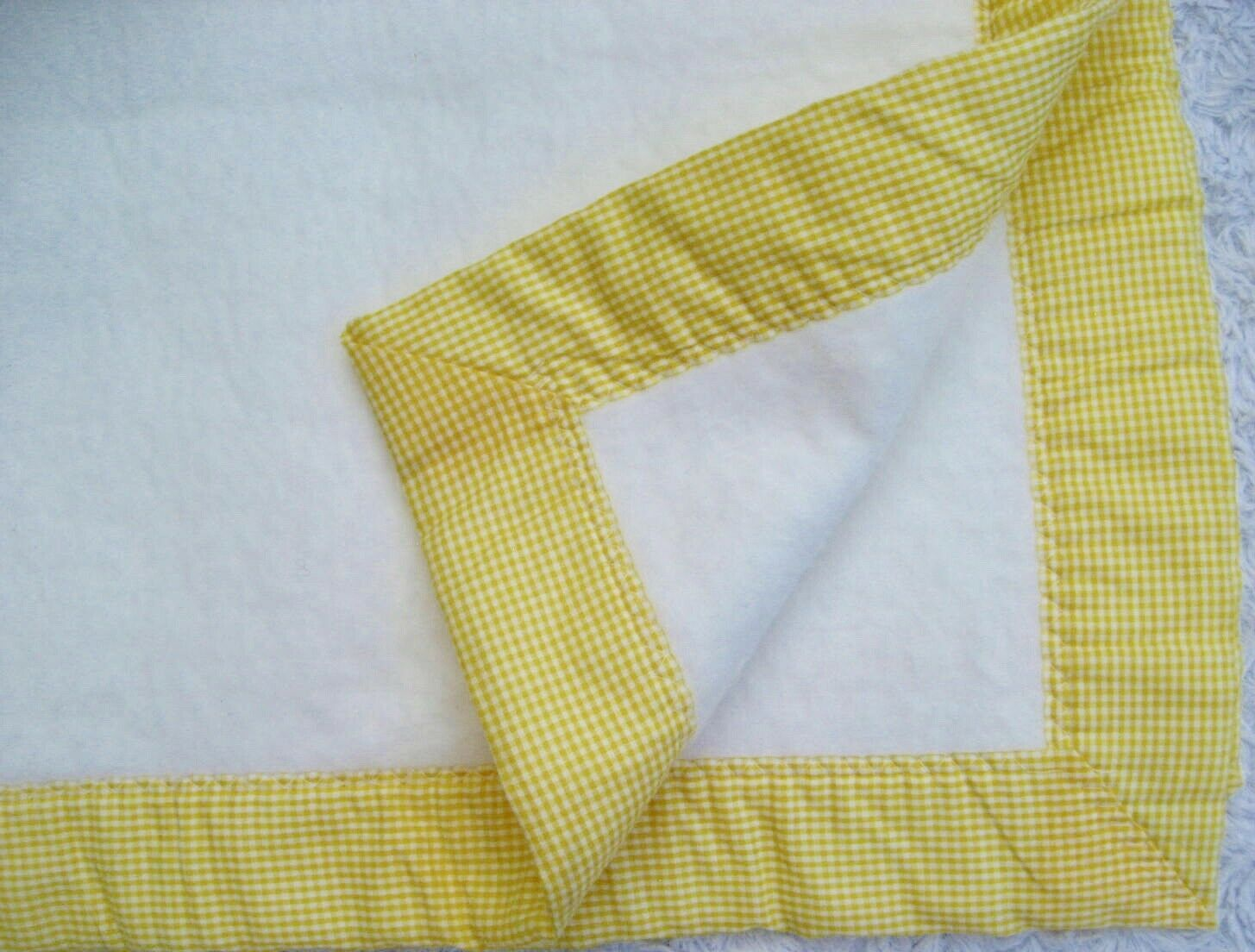 Primary image for VTG Baby Blanket Circus Carousel Applique Gingham Edge Quiltex USA 1970s ILGWU