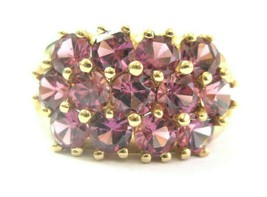 Pink Tourmaline Three Row WIDE Ring Solid 14Kt Yellow Gold 3.50Ct SIZEABLE - $742.50