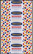 Vintage bread wrapper WONDER THIN SLICED dated 1960 Continental Baking R... - $9.99