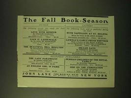 1902 John Lane The Bodley Head Ad - The Fall Book-Season - $14.99