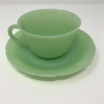 Vintage 1950's Fire King Green Jade-ite Alice Floral Pattern Cup & Sauce... - $19.60
