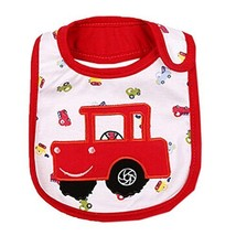 Lovely Red Car Cool Cotton/PVC Adjustable Waterproof Baby Bib Pocket Bib 612""