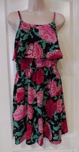 ELLE Popover Tiered Dress Black FLoral   Women's Sz S- L  NWT MSRP $50 - $21.32