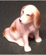 Vintage Miniature Dog Figurine White and Brown Ceramic - $4.75