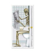 Halloween Door Cover Skeleton Sitting on a Toilet Restroom Haunted House... - $10.79