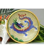 Vintage Cloisonne Enamel Trinket Pin Dish Chinese Blue Dragon - $19.95