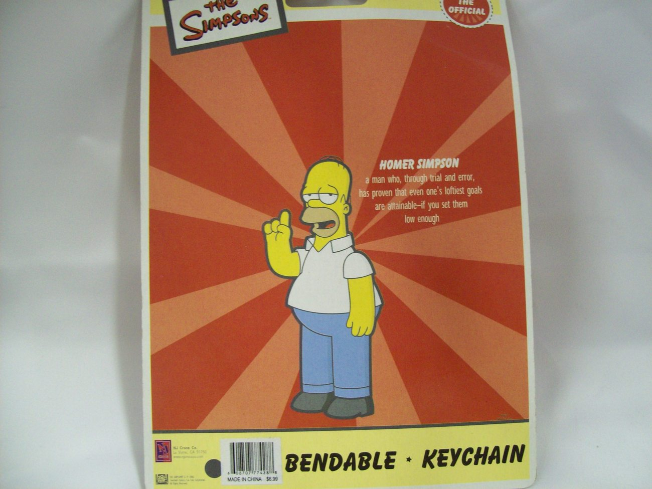 Homer Simpson Bendable Figure Keychain - New in Package