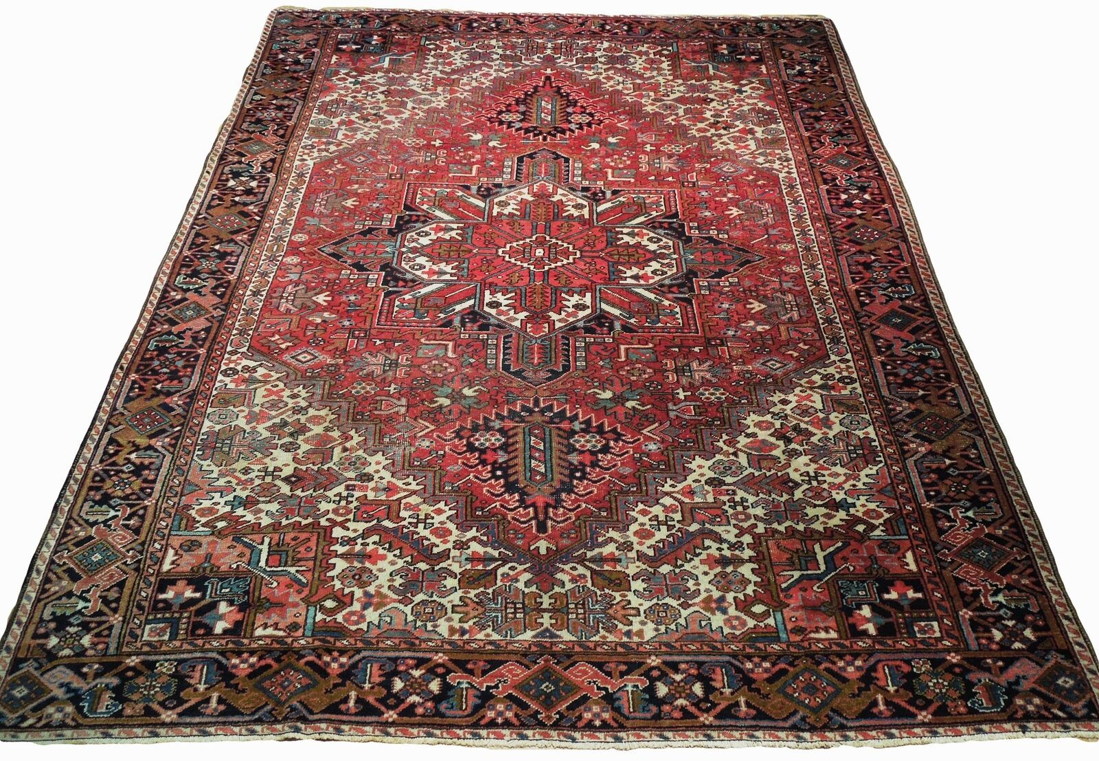 Normal Wear Semi-Antique Persian Handmade 9x12 Burgundy Heriz Wool Rug