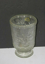 Vintage Fenton Clear Glass Footed Vase Old Homestead Scene - $29.68