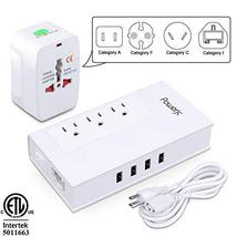 Voltage Converter UK/AU/US/EU Worldwide Plug Adapter with 3 Outlets and ... - $31.57