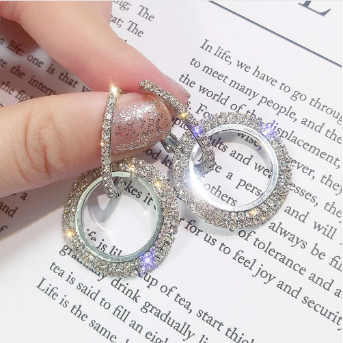 925 silver needle rhinestone circle crystal from Swarovski earrings women