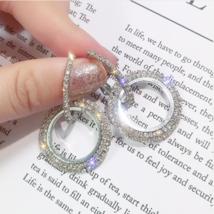 925 silver needle rhinestone circle crystal from Swarovski earrings women image 1