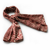 Red & Ivory Distinctive Leopard Animal Print Silk Scarf(Large) - $16.99