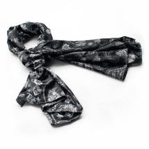 Black Flower and Paisley Decent Soft Natural Silk Scarf(Large) - $16.99