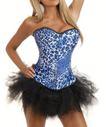 Blue Leopard Cheetah Animal Print Satin Corset ... - $37.99