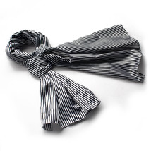Black & White Stripe Elegant Natural Silk Scarf(Large) - $16.99