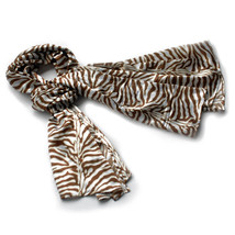 Brown Funky Zebra Animal Pattern super soft Silk Scarf(Small) - $14.99