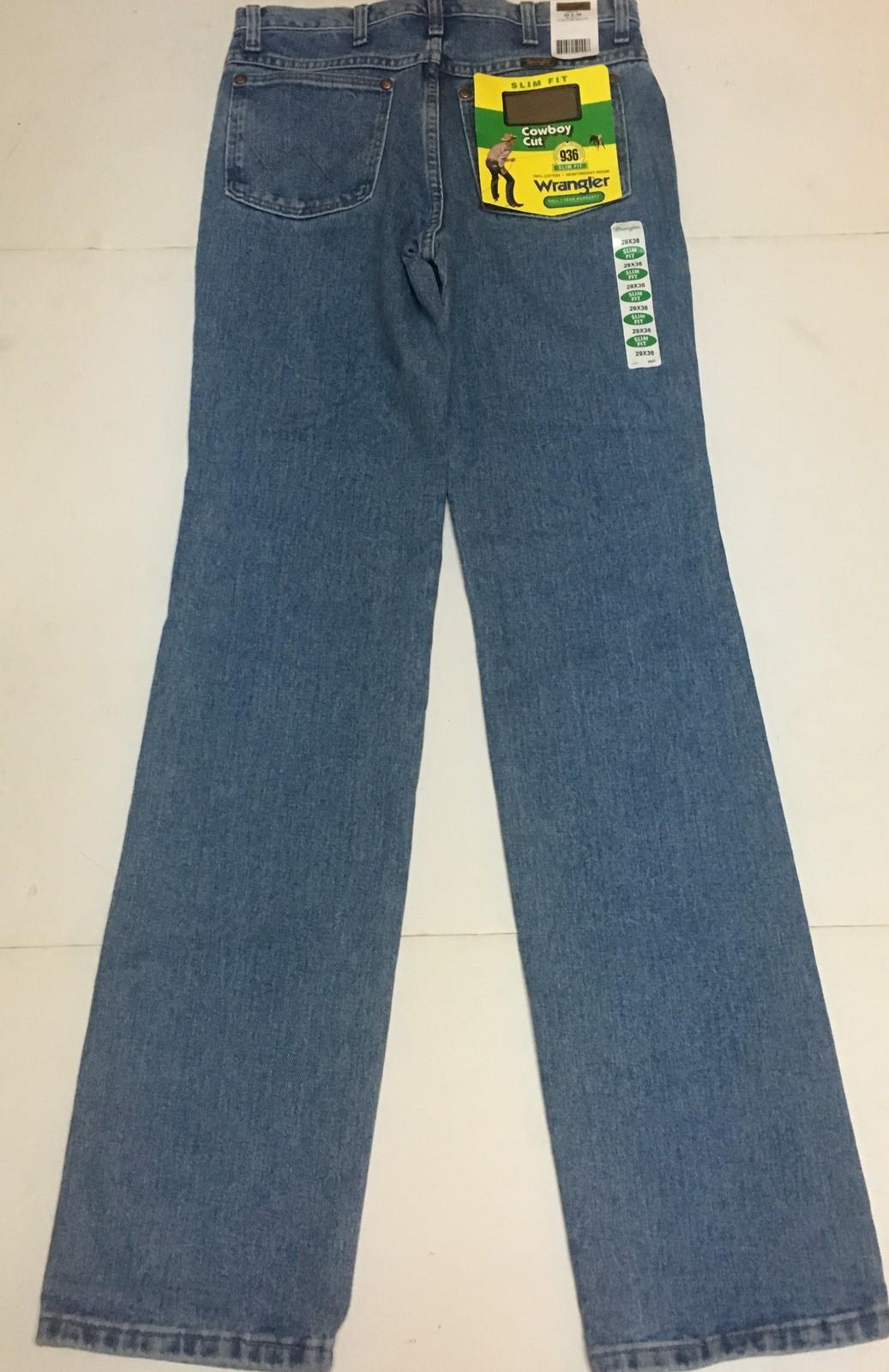 Men's Wrangler 936 Cowboy Cut Blue Jeans Slim Fit SZ 29 x 36 Fits Over Boots