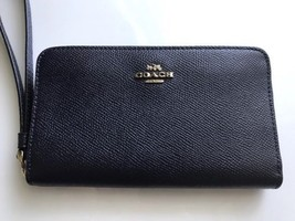 Coach Signature Leather Phone Wallet F58053 Midnight - $72.22