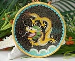 Vintage cloisonne enamel trinket pin dish chinese yellow dragon thumb155 crop