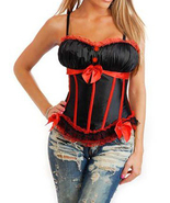 Sexy Black Peasant Top Satin Corset with Red Tr... - $35.99