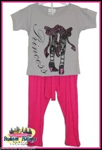 NWT DOULBE SCOOP 7 PINK PRINCESS TOP CAPRI PANTS SET SIZE 4, 5/6 , 6X - $8.41