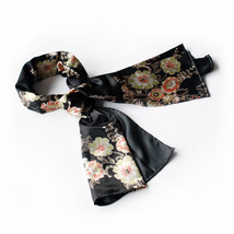 Black Flowers Floral Patterns Silk Scarf(Large) - $16.99