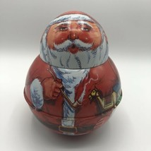 Vintage 1980 Cheinco Santa Clause Round Metal Tin Container with Removab... - $15.00