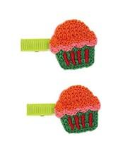 2 Pairs Of Creative Cute Green Ice Cream Wool Handmade Hair Accessories Hairpin image 2