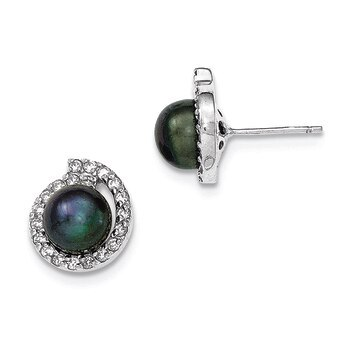 Primary image for Lex & Lu Sterling Silver w/CZ 8-9mm FWC Button Black Pearl Post Earrings