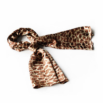 Dark Brown Giraffe Animal Print Comfy Silky Scarf(Large) - $16.99