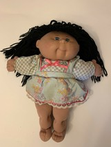 Vintage Cabbage Patch Doll 1990 Black Hair Blue Eyes Floral Dress Pink Bow CPK - $27.98