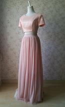 Gold BLUSH SEQUIN TOPS Short Sleeve Sequin Crop Tops Wedding Bridesmaid Top Plus image 8