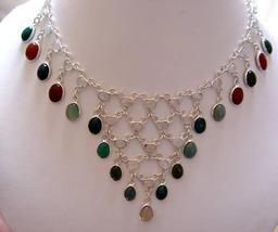 137.8 CARATS 54 GENUINE REAL GEMSTONE STERLING NECKLACE - $121.00