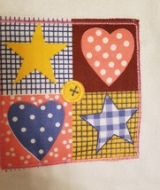 Kitchen Hand Towels set of 2 Velour Applique Patchwork Hearts Stars Red Yellow image 5