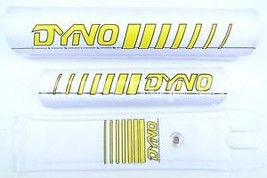 NEW DYNO old school BMX bicycle padset pads EARLY LOGO - YELLOW *MADE IN... - $42.06