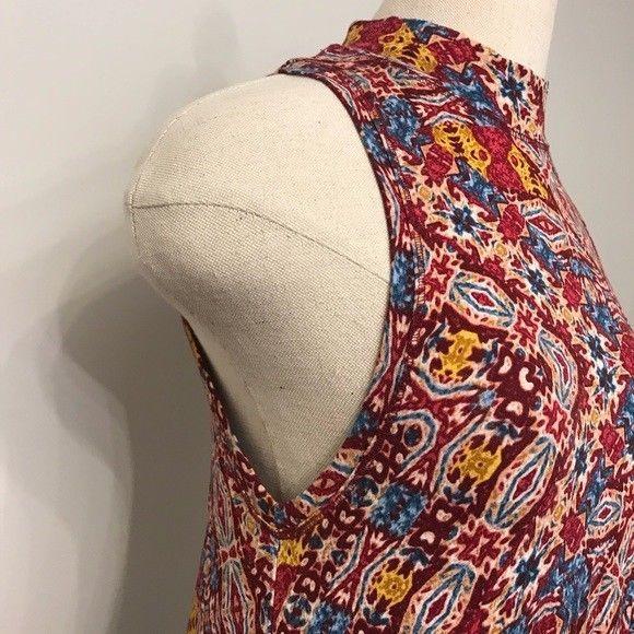 Maeve Anthropologie Dress Sleeveless Shark Bite Hem tribal mock neck sz small