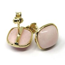 18K YELLOW GOLD BUTTON LOBE EARRINGS, CABOCHON SQUARE PINK OPAL DIAMETER 10mm image 3