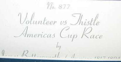 James E. Buttersworth Volunteer vs Thistle America Cup Race