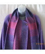 Made in Ireland long pure wool lavender and pink coat with attached scarf - $56.25