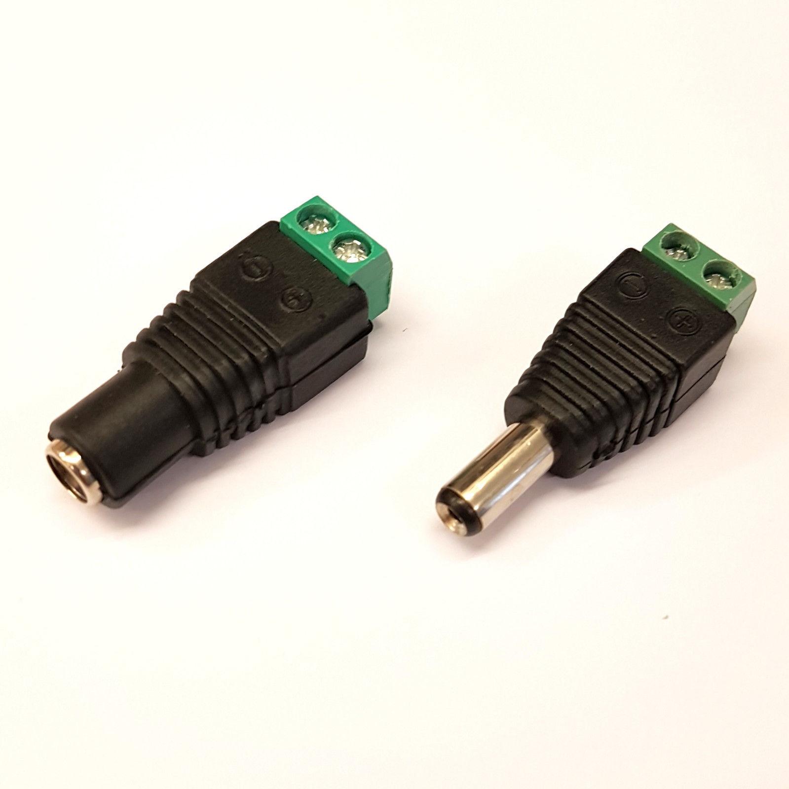 PLUGZ2GO 5 x DC Power Plug 2.5 x 5.5mm Jack Connector Male 9mm