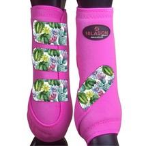 M - Hilason Horse Medicine Sports Boots Front Leg Pink U-US-M - $65.33
