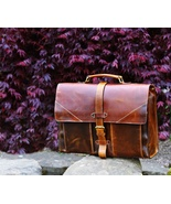 Personalized Genuine Leather Mens Briefcase Laptop Business Bag - $220.00