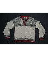VTG LL Bean Women's S-REG Nordic Fair Isle Snowflake Cotton Sweater Meta... - $37.39
